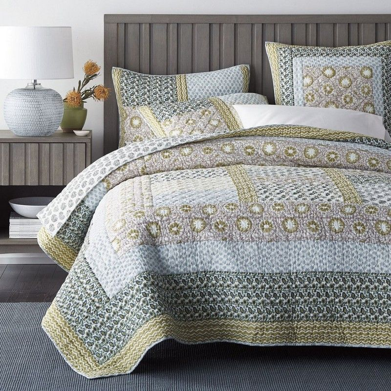 Anu Quilt Sham What We Love Most About This Artistic Patchwork Quilt Are Its Graphic Patterning An Beige Bed Linen Grey Linen Bedding Company Store Bedding