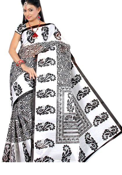 69dd657ac JUST IN Rs. 365 - Drape yourself in this casual wear Polycotton blend saree