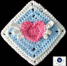 Angel Heart Granny Crochet Square Free Pattern