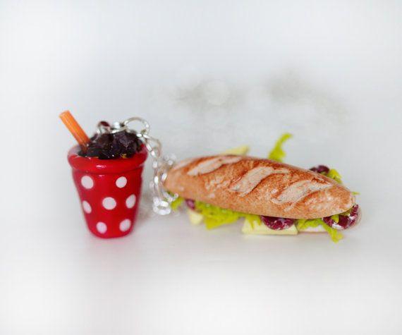 Sandwich - Sandwich Soda - collar comida - kawaii collar - alimentos joyería