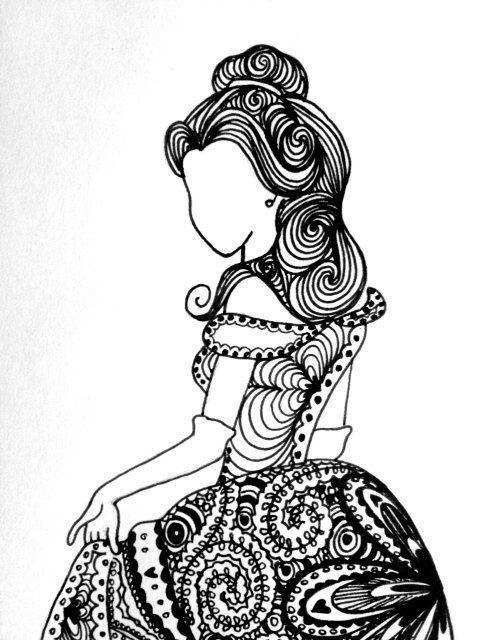 Disney Zentangle Coloring Pages : Resultado de imagen vestidos princesas zentangle