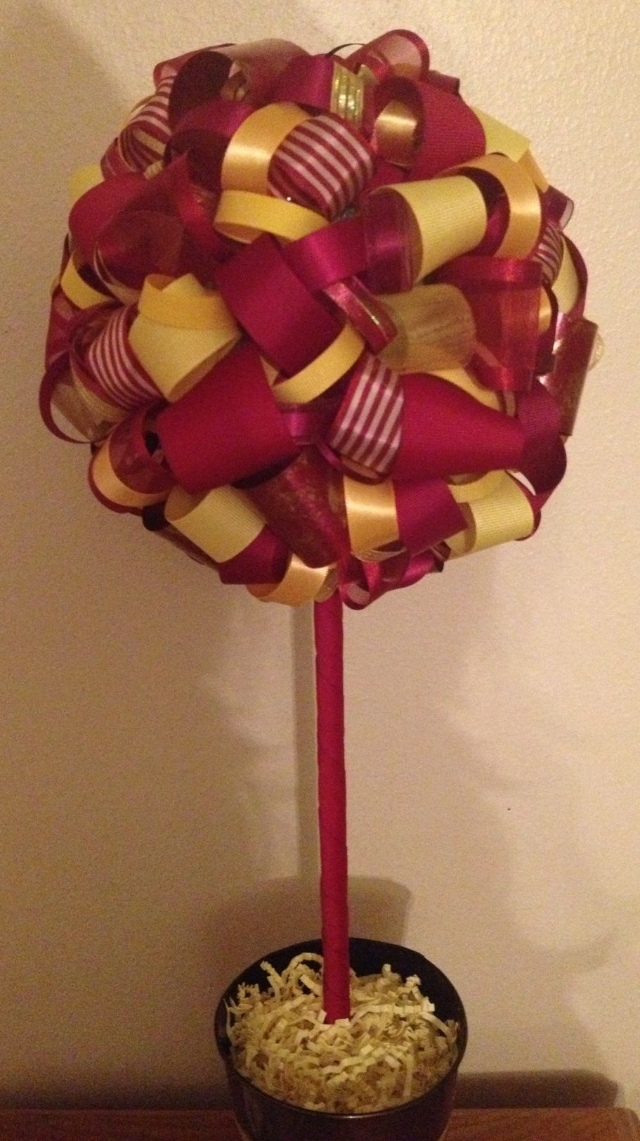 Maroon And Yellow Gold Ribbon Topiary Florida State