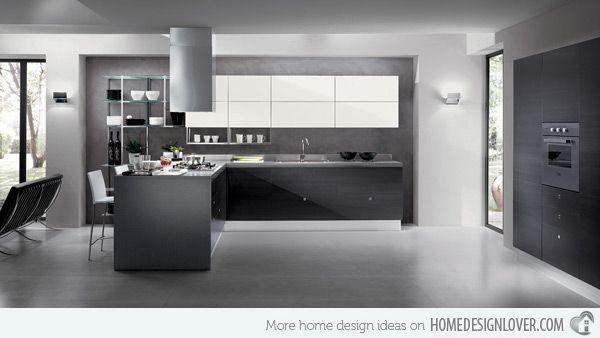 15 Black and Gray High Gloss Kitchen Designs | Home Design Lover | Luxury kitchen design, Modern ...