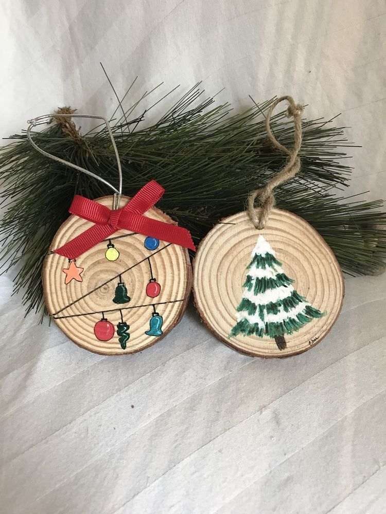 Set Of Two Wood Round Handpainted Ornaments Ebay Shared Hand