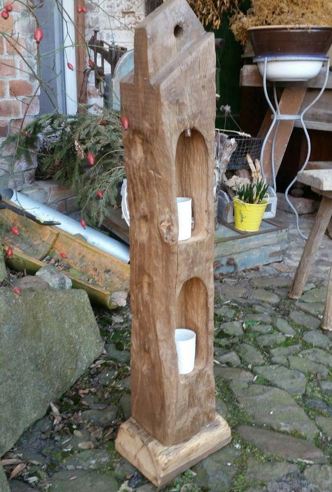 Photo of Windlicht Laterne aus Holzbalken Alt Eichenbalken Stele Dekosäule Teelichthalte…