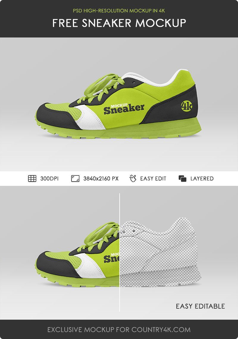 Download Free Sneaker Mockup Counrty4k In 2020 Sneakers Photoshop Program Sport Shoes Design