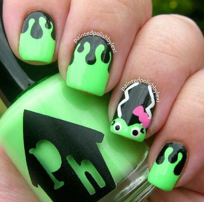 Frankenstein wife nails | Nails | Pinterest