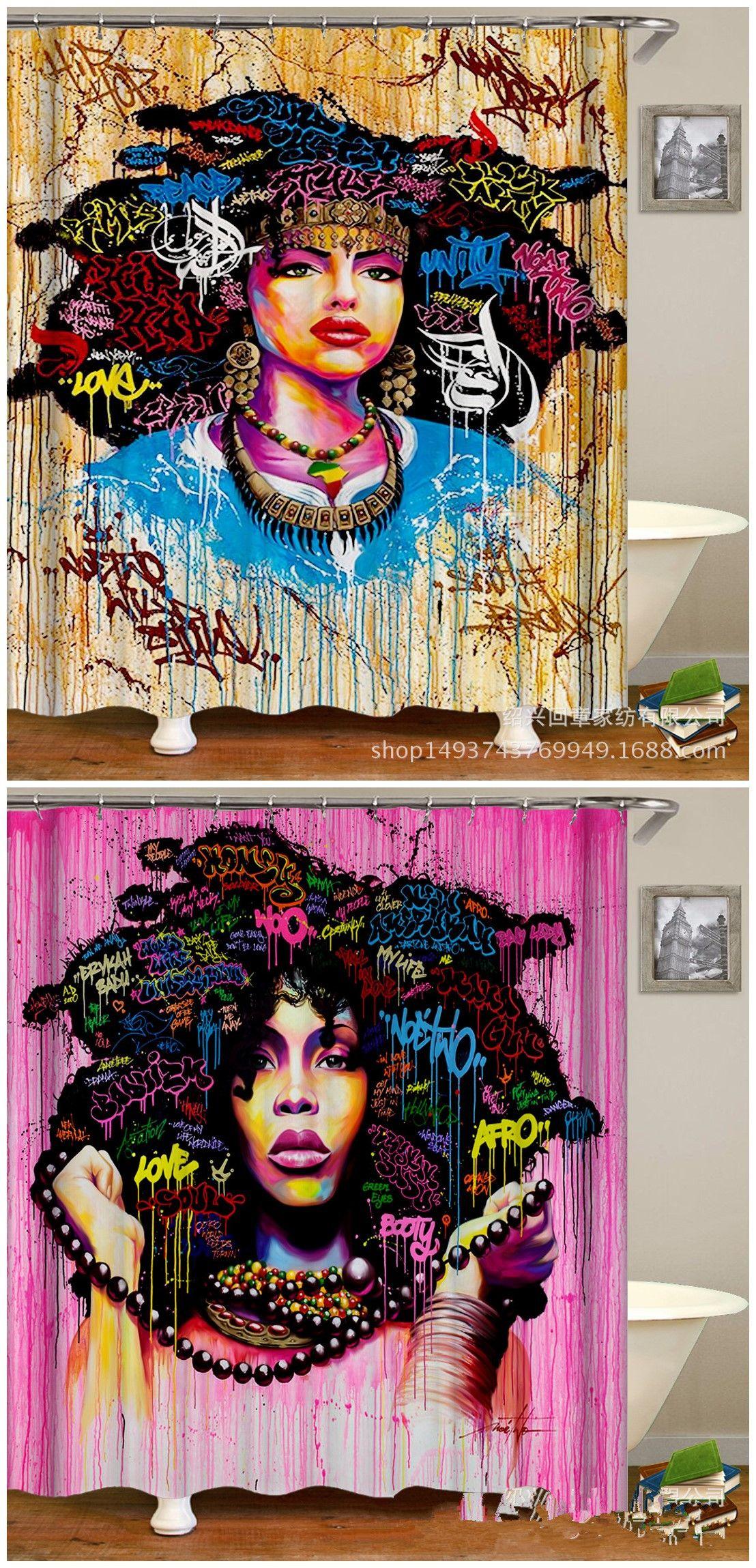 Chengsan Afro Hair Hippie Woman Pop Art Pattern Shower Curtain Polyester Fabric Bathroom Curtain Waterproof Mildew Resistant Fabric Bathroom Decor with Hooks