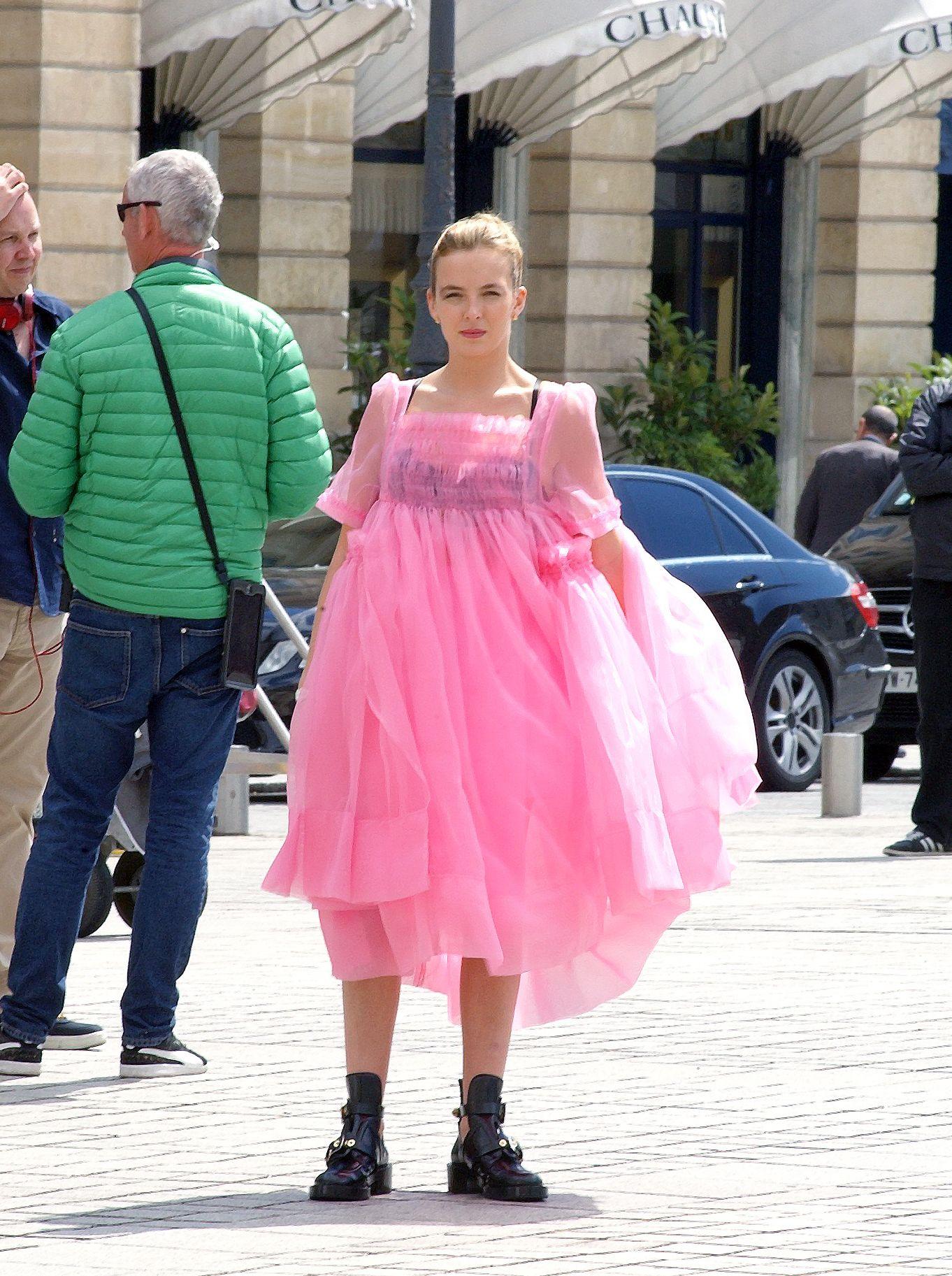 Image result for villanelle pink dress