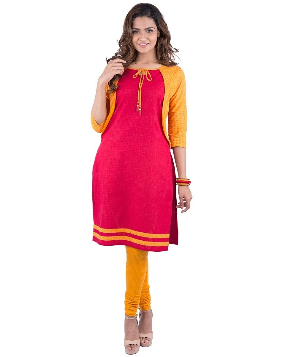 1c3edc4665 Maybell Orange and Red KurtI | Wardrobe essentials | Red kurti ...