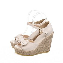 Women's Shoes Faux Leather Wedge Heel Wedges/Toe Ring Sandals Outdoor/Casual  Black/Beige