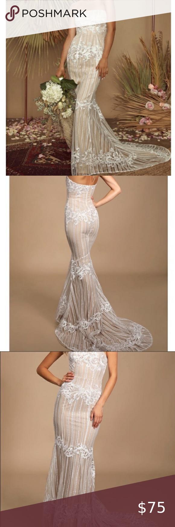 Nwt Lulu S Strapless Tan White Dress With Train Curvy Petite Fashion Dresses Celebrity Dresses [ 1740 x 580 Pixel ]