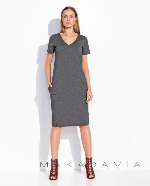 6bf6526aa1 38 Sukienka M294 Grafitowy melanż - MAKADAMIA-PL - Sukienki midi Moda  Única