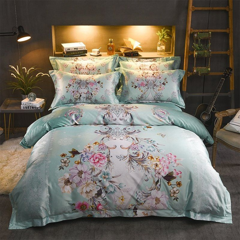 Bright Colorful Mint Green Pink Gold And Brown Garden Floral Print Shabby Chic Cottage French Blue Bedding Sets Shabby Chic Bedrooms Grey Comforter Sets Queen