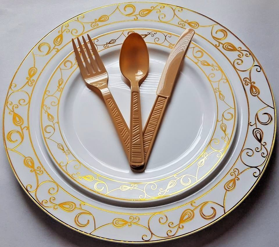wedding party disposable plastic plates silverware gold