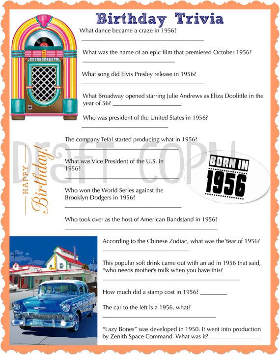 1956 Birthday Trivia Game Birthday Party Trivia Instant