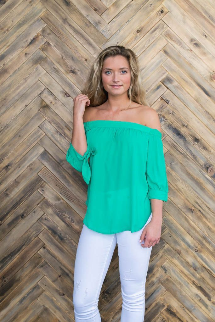 Off the Shoulder Woven Top with Ties