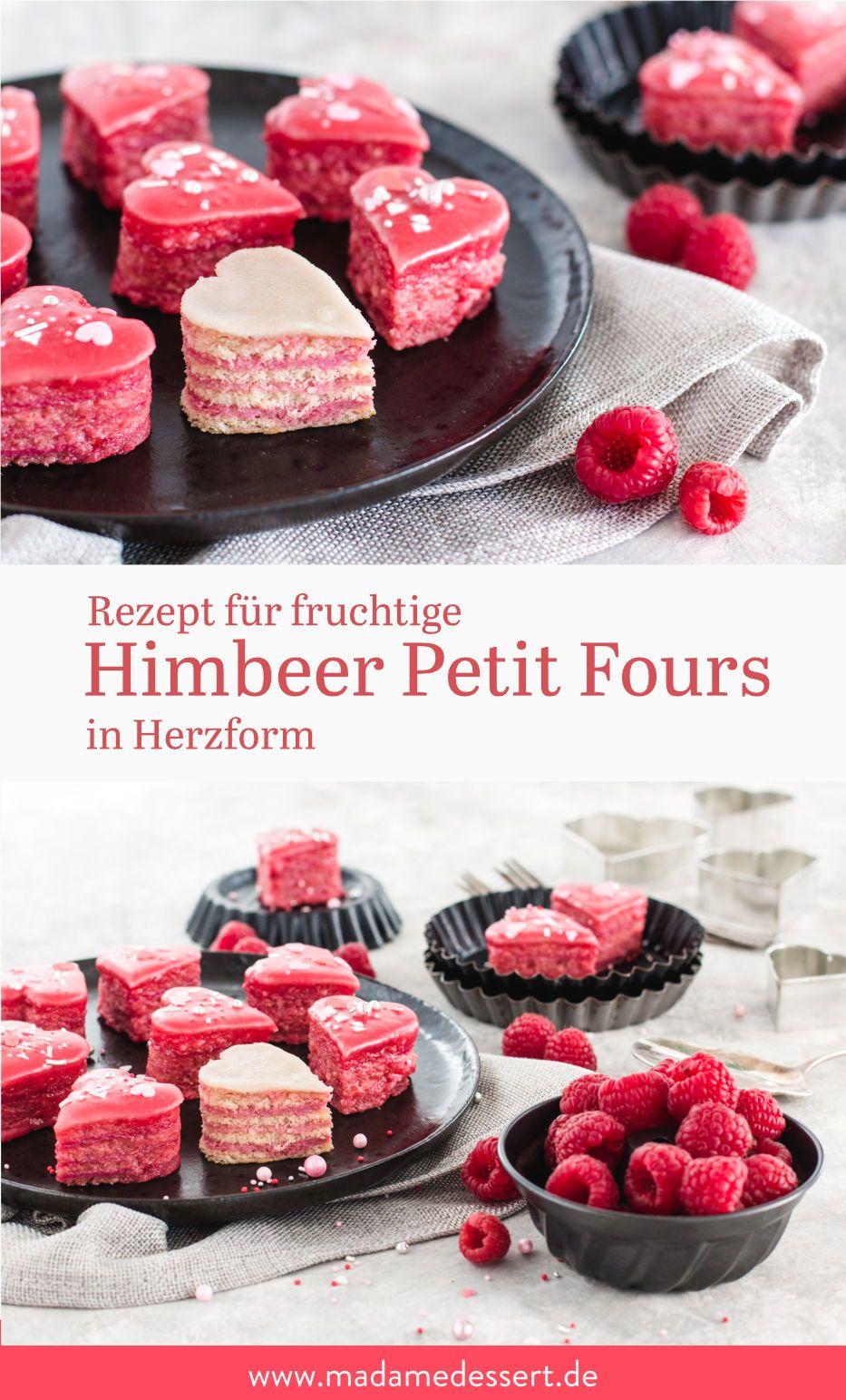 Fruchtige Petit Fours in Herzform   Madame Dessert
