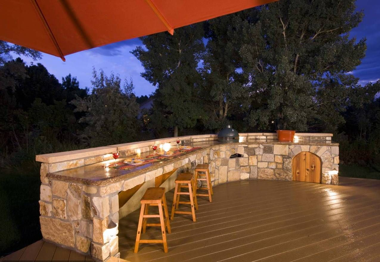 Stone Marble Outdoor Kitchen Plans With Stone Made On The Kitchen Island  Combined With Laminate Flooring