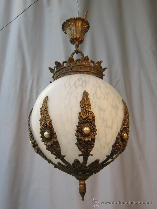 Lampara de techo en bronce y tulipa de cristal l mparas - Venta de lamparas de techo ...