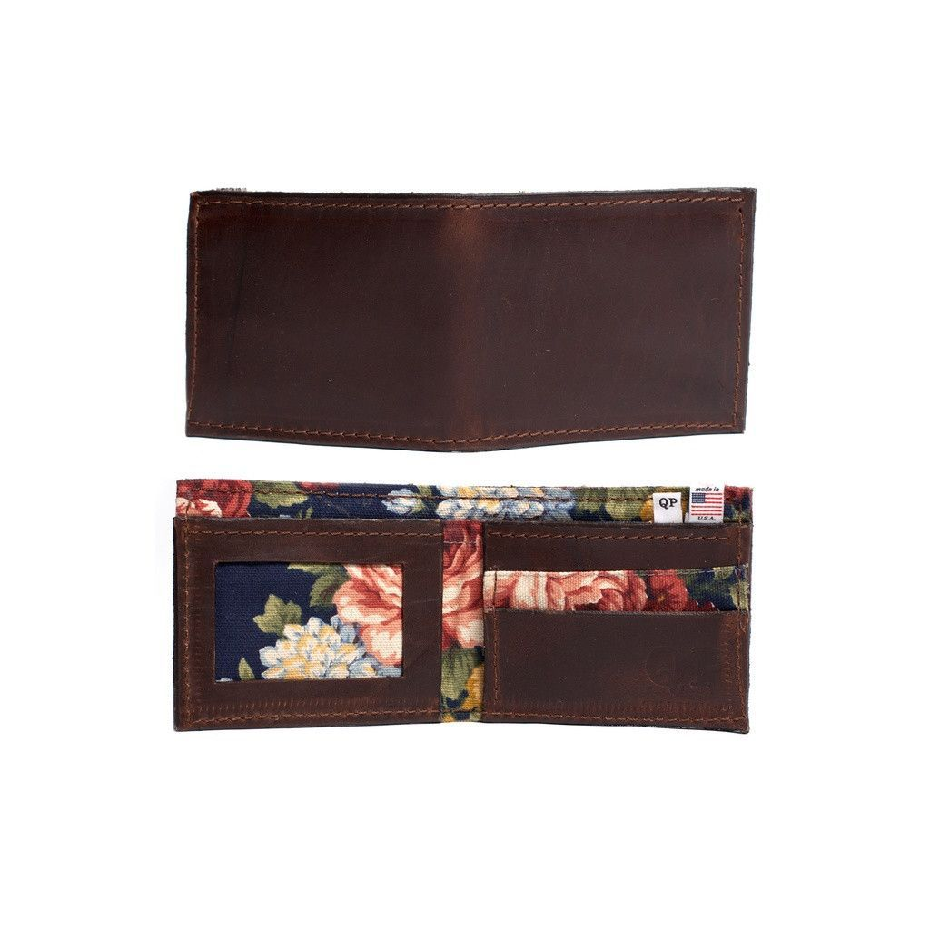 Men's Floral in Brown This is a high quality men's wallet designed and handmade by members of our team locally here in the USA. The wallet is made of a high quality brown, genuine leather. I wish you