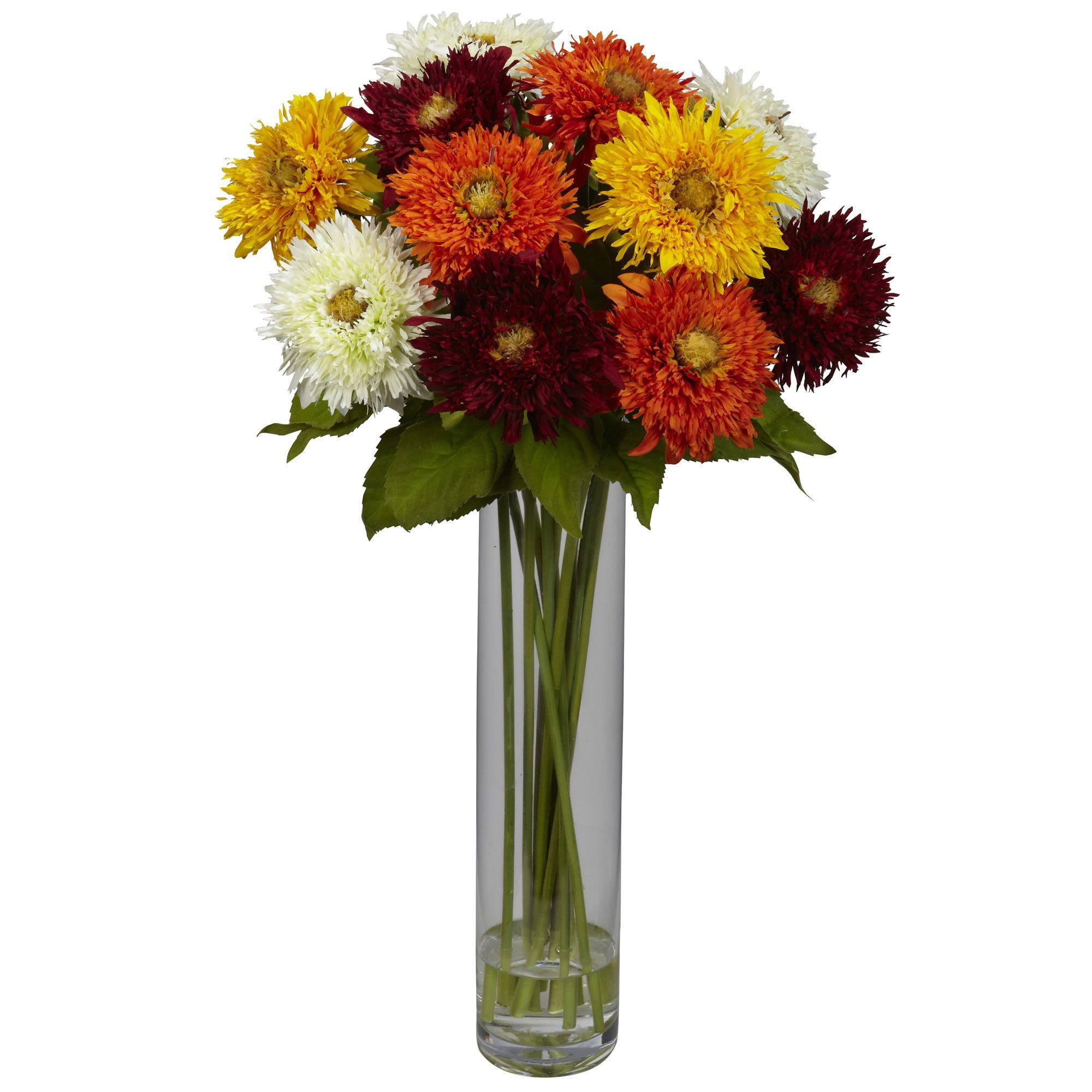 Sunflower Wcylinder Silk Flower Arrangement Faux Flowers
