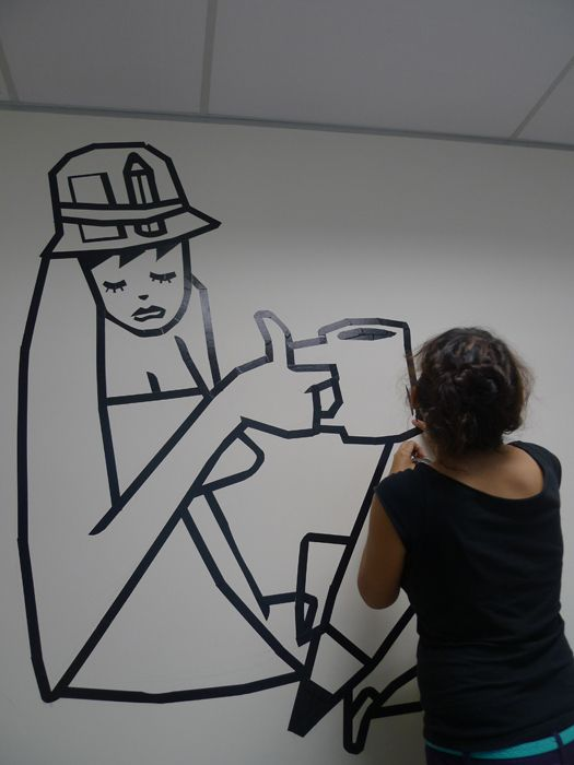 masking tape murals google search artclass tape art tape high school art. Black Bedroom Furniture Sets. Home Design Ideas