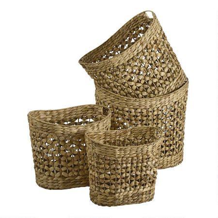 Natural Woven Water Hyacinth Bushel Basket Christmas Tree Shops