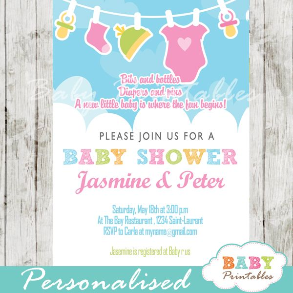 Pink Green Baby Girl Clothes Baby Shower Invitation D152