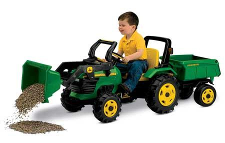 John Deere Kids Ride On Plastic Pedal Tractor With Front End Loader And Trailer