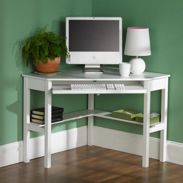 Unbranded 48 In Corner White Computer Desks With Keyboard Tray Ho6642 The Home Depot In 2020 White Corner Computer Desk Small Computer Desk White Computer Desk