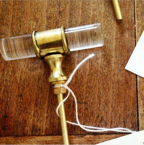 DESCRIPTION ::: Beautiful unique lucite and brass knobs. Comes ...
