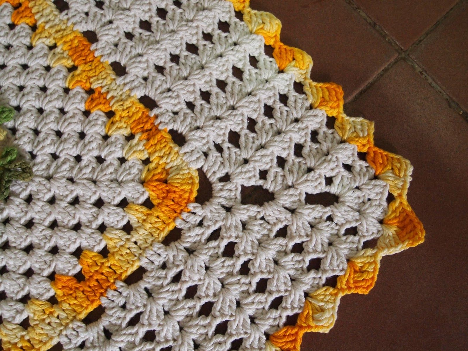 Os Croches Da Elsa Tapete Retangular Com Flor Crista De Galo