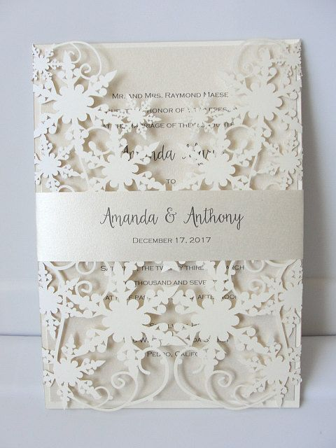 Winter Wedding Invitation Snowflake Invite December