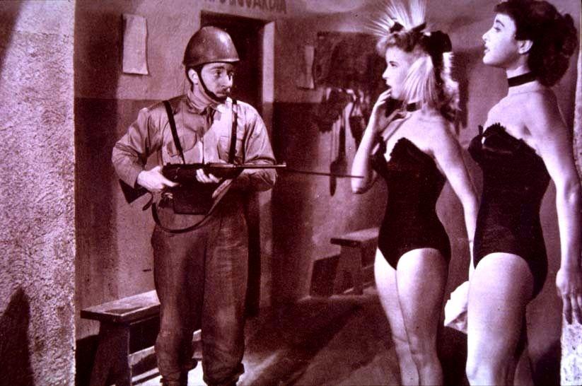"""Carlo Croccolo, Delia Scala and Silvana Pampanini in """"Bellezze in Bicicletta"""""""