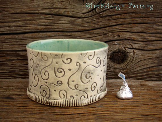 Pottery Bowl in Mint Green with Swirls  Candy by DirtKickerPottery