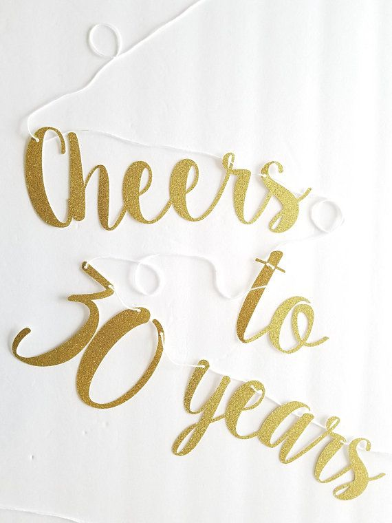 Cheers to 30 Years Banner | Small | 30th Birthday Decor ...
