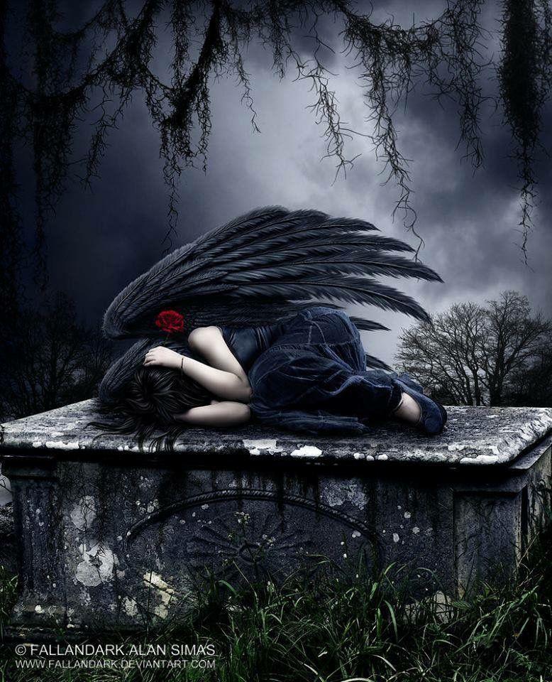 Sad black wings angel laying down covering her ears goth raven angels in 2019 angel art - Sad angel wallpaper ...