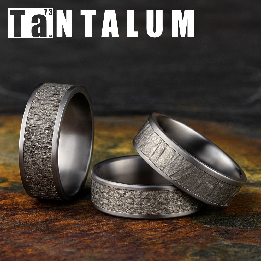 8mm men's gray tantalum wedding ring with a wood split