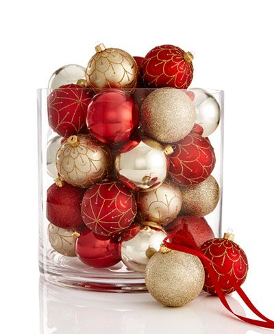 Holiday Lane Set Of 42 Red And Gold Shatterproof Ornaments Shatterproof Ornaments Ornament Set Mantel Decorations