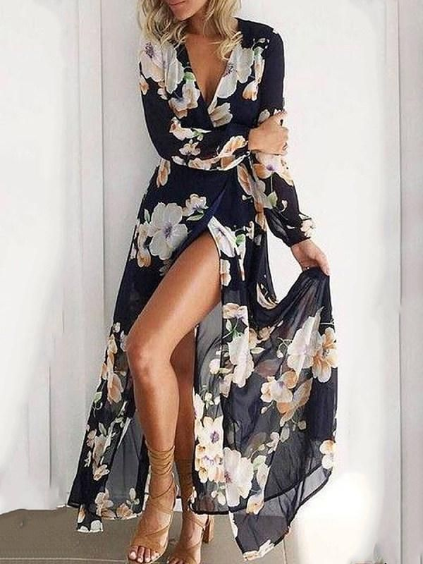 Bohemia Deep V Collar Printing Long Sleeves Beach bohemian maxi dress bohemian maxi dress…