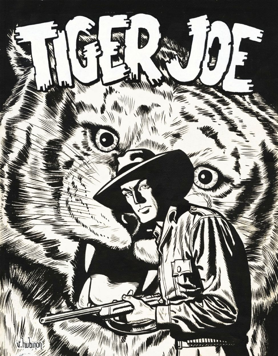 1951 - Tiger Joe.  Original Comic Art.  VICTOR HUBINON - 1924/1979 - Belgium  JEAN MICHEL CHARLIER - 1924/1989 - Belgium  Tiger Joe  Cover book - Ink on paper -35x27 cm  Publication Belgian book 1951.