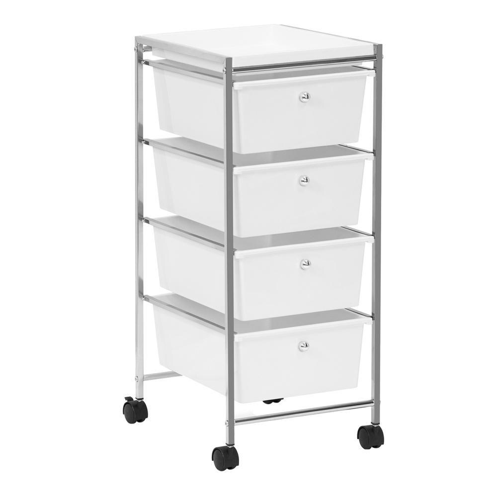 4 Drawer Storage Trolley Portable Wheels Home Office Beauty Salon Hair Dresser