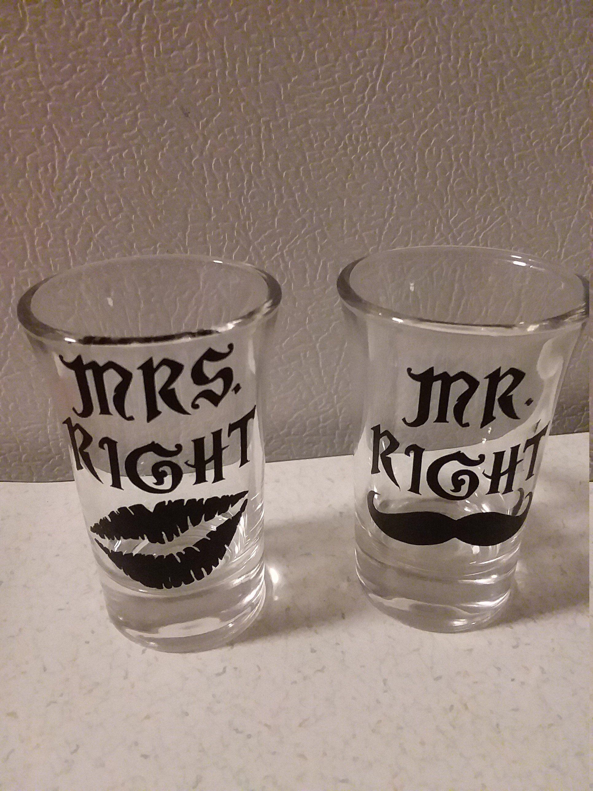Mr right and mrs right shot glasses shot glasses