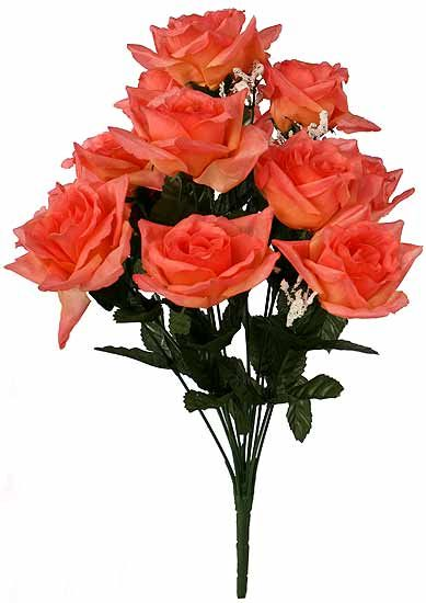 Coral silk roses 19 coral open silk rose floral bush spring coral silk roses 19 coral open silk rose floral bush spring silk flowers mightylinksfo