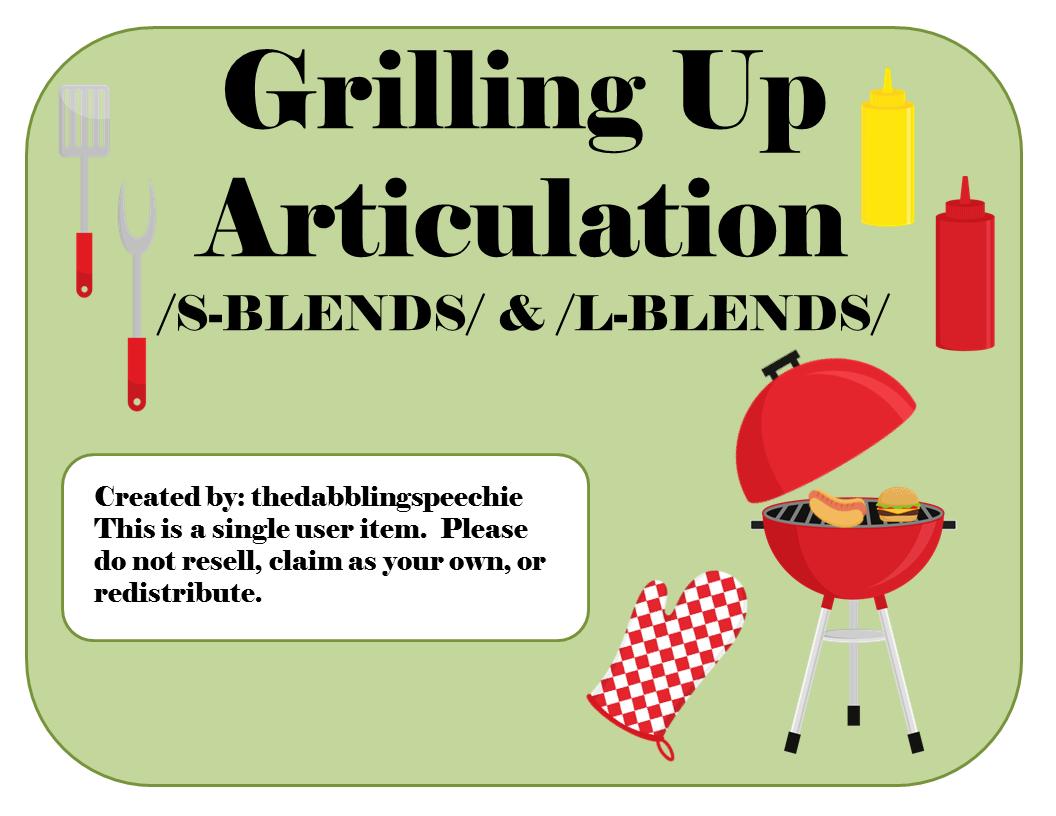 Grillin Up Articulation Game S Blends L Blends Sh Ch