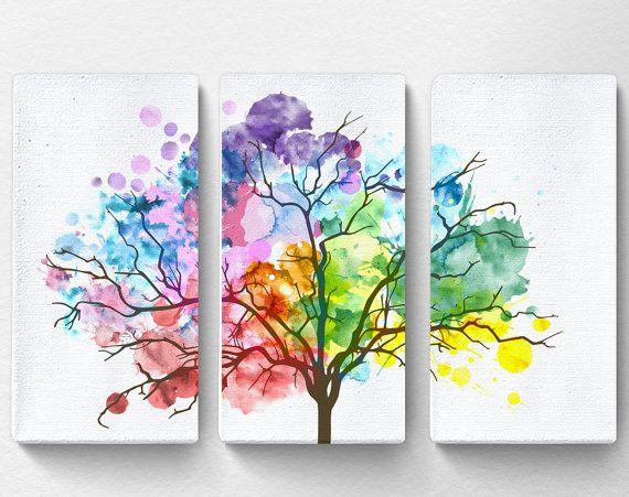 rainbow watercolor tree canvas