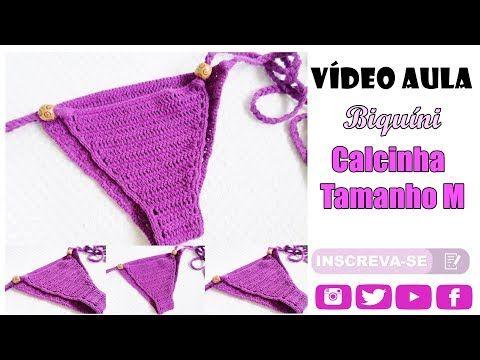 3c8b0046d Biquíni Crochê - Calcinha - Tamanho M - YouTube