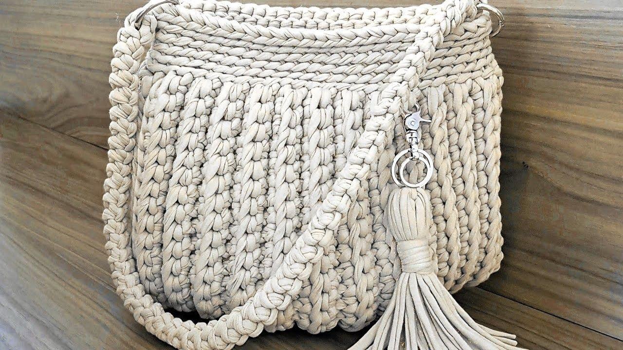 Crochet handbag purse tutorial diy tshirt yarn hand