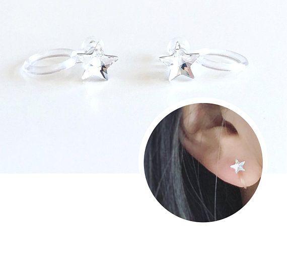 Sterling Silver 10mm Open Star Stars Mothers Day Drop Dangle Stud Earrings Box
